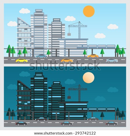 flat design of urban landscape background. day and night design. Can be used for cover page, business infographics element, web design, brochure template. vector illustration - stock vector