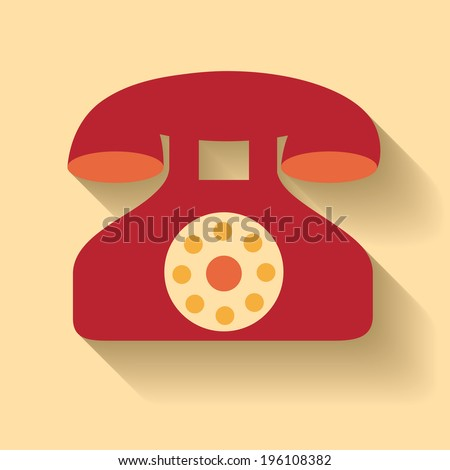 Flat design of vector old phone icon - stock vector