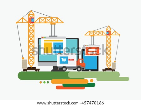 Flat design of website under construction, web page building process. Concept vector illustration. - stock vector