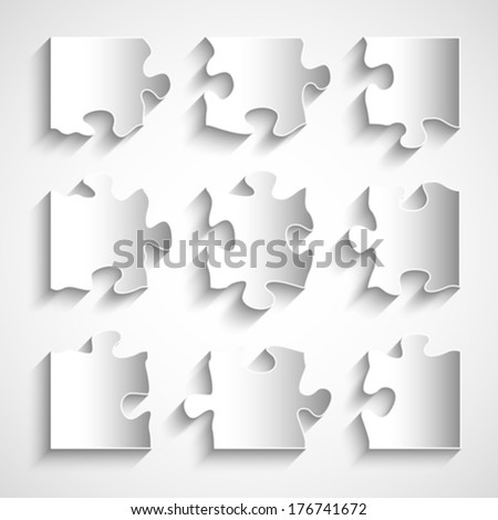 Flat design 9 piece puzzle forms. Vector illustration - stock vector