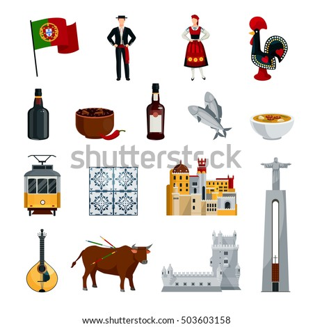 Flat design portugal icons set national stock vector for Cuisine design portugal