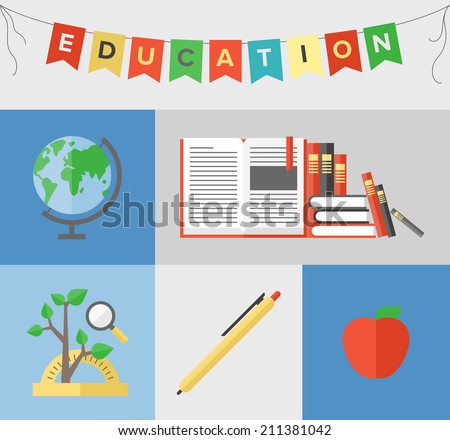 Flat design poster of back to school theme, elementary education symbol, learning new knowledge and reading books. Flat design style modern vector illustration isolated on color background.  - stock vector