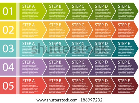 Flat design. Process arrows boxes. Step by step vector set. Five steps.  - stock vector