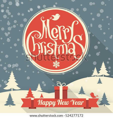 Flat design retro vintage Christmas and New Year greeting card vector template with red ribbon, gift box, snow and winter landscape.