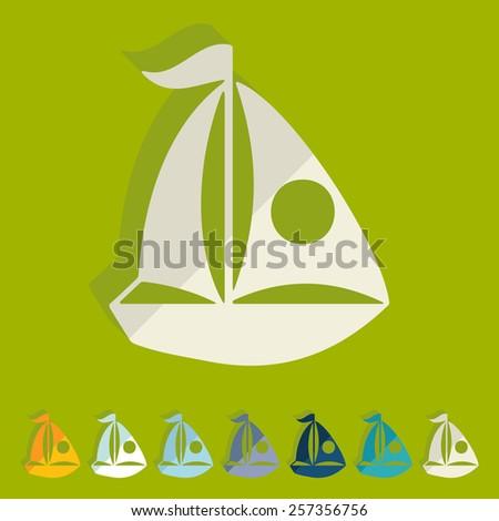 Flat design. sailing boats - stock vector