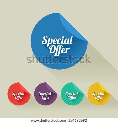 Flat design sale discount Special offer button with long shadow, 8 EPS - stock vector