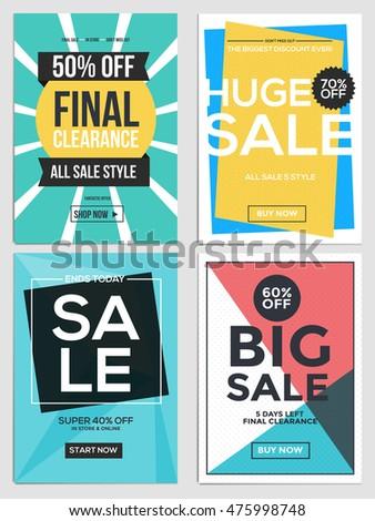 flat design sale flyer template websites stock vector 475998748