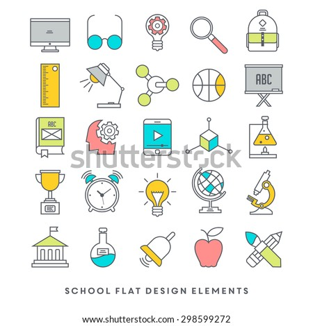 Flat design school and education icon set - stock vector