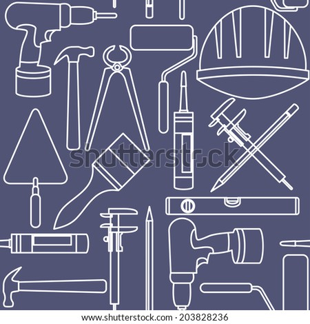 Flat design. Seamless pattern of graphic house repair icons - stock vector