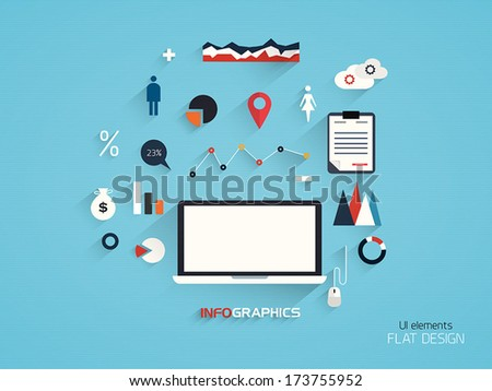 Flat Design Set. Computer, Message, Infographics and Business Icons. Vector - stock vector