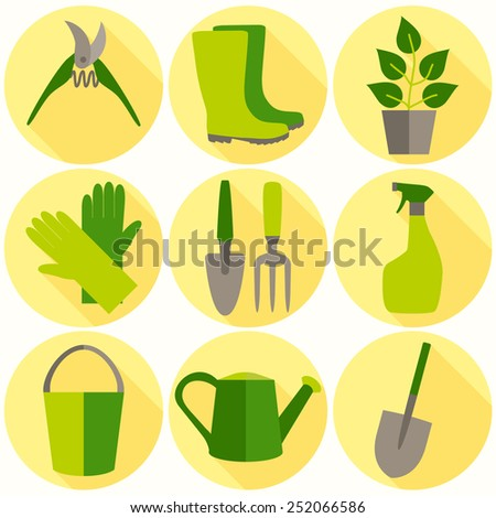 Flat design set of gardening tool icons isolated on white background. - stock vector