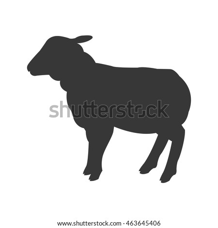 flat design sheep silhouette icon vector illustration