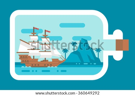 Flat design ship in a bottle illustration vector