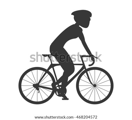 flat design silhouette person riding bike with helmet icon vector illustration