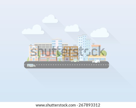 Flat Design Simple Pastel Colored Cityscape Vector. Simple illustration of cityscape with main street, flat design, long shadow - stock vector