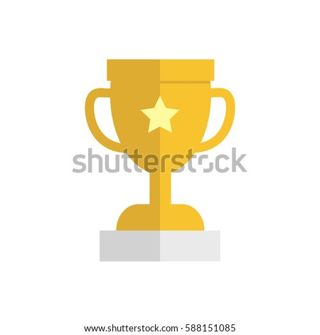 Flat Design Simple Vector Golden Trophy Icon Isolated On White Background For Your Website Or Application