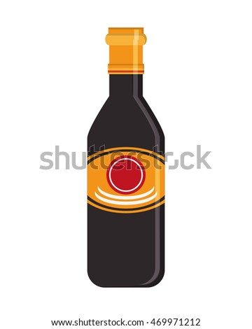 flat design soy sauce icon vector illustration