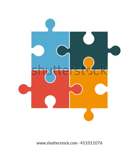 flat design square in for puzzle pieces icon vector illustration
