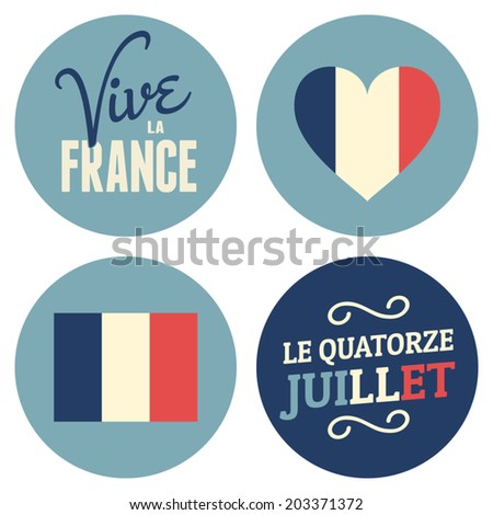 Flat design stickers for the French National Day, July 14th, Bastille Day. Vive La France, Long Live France. - stock vector