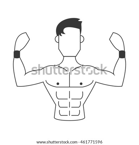 flat design strong man icon vector illustration