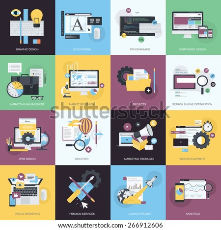 Flat design style concept icons on the topic of graphic design, logo design, website development, responsive design, app development, SEO, digital marketing, project management, market research. - stock vector