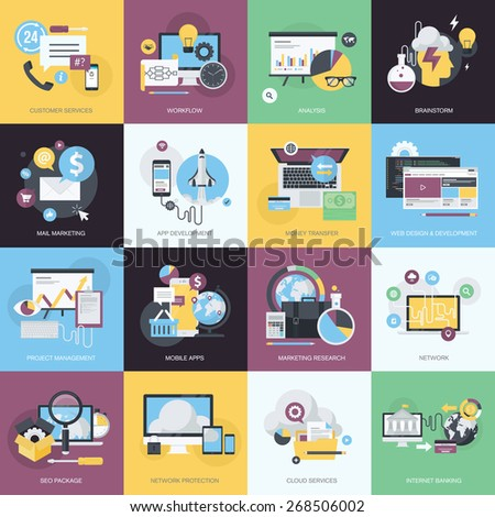 Flat design style concept icons on the topic of web design and development, mobile apps, email marketing, cloud services, SEO, internet banking, network protection, brainstorming, customer services. - stock vector