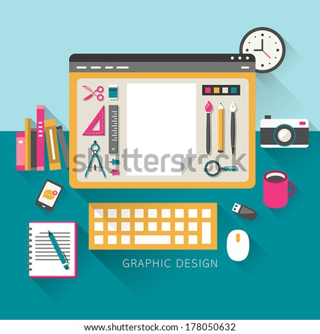 flat design style concept of graphic design - stock vector
