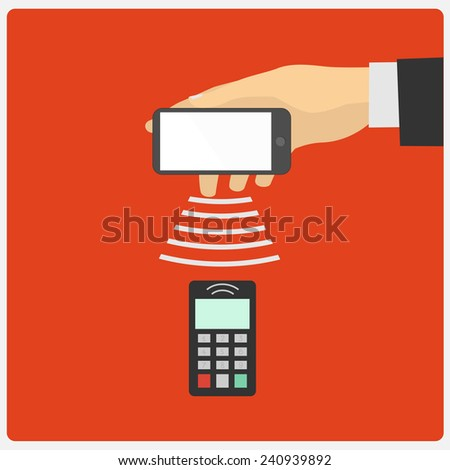 Flat design style illustration. Hand holding a Smartphone spends in the payment terminal - stock vector