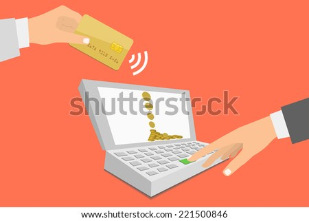 Flat design style illustration. Notebook with processing of mobile payments from credit card. Communication technology concept. Isolated on red background  - stock vector