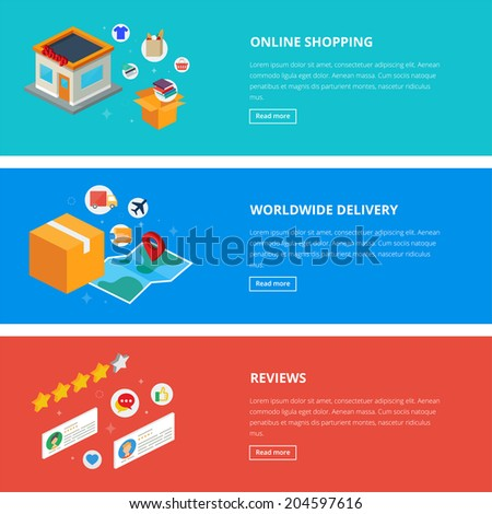Flat design style modern vector illustration concept for web, online shopping, e-commerce, internet purchase, marketing, reviews and delivery. Banners for websites. Isometric icons.  - stock vector