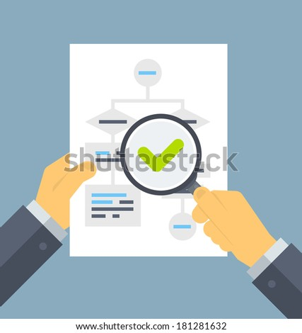 Flat design style modern vector illustration concept of businessman hands holding magnifier and analyzing flowchart with data information on a white paper. Isolated on stylish color background - stock vector