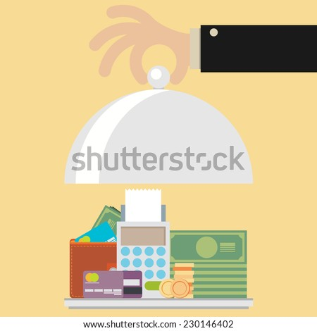 Flat design style modern vector illustration concept of businessman offering a money on the serve plate for funding a commercial project or investment in bank deposit. - stock vector
