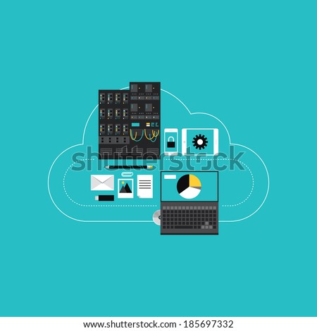 Flat design style modern vector illustration concept of cloud computing communication technology, web hosting for business networking, server connection and data access for mobile and computer devices - stock vector