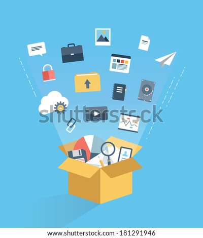 Flat design style modern vector illustration concept of cloud computing technology service, web data storage and archive, information hosting and business document access via internet communication. - stock vector