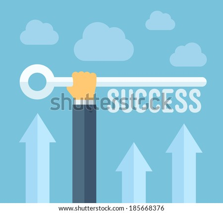 Flat design style modern vector illustration concept of hand holding a key of success, meaning overcoming difficulties, goals achievement, opportunities for business development.  - stock vector
