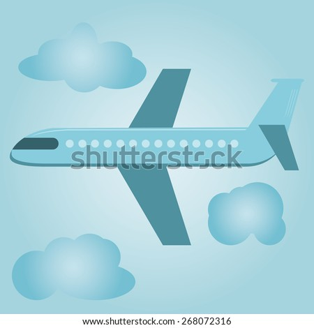 Flat design style modern vector illustration concept of modern detailed airplane flying through clouds in the blue sky. - stock vector