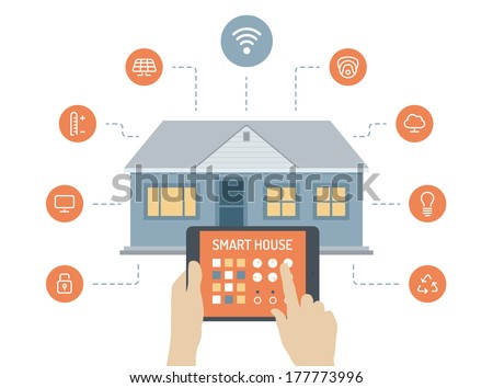 Flat design style modern vector illustration concept of smart house technology system with centralized control of lighting, heating, ventilation and air conditioning, security and video surveillance - stock vector