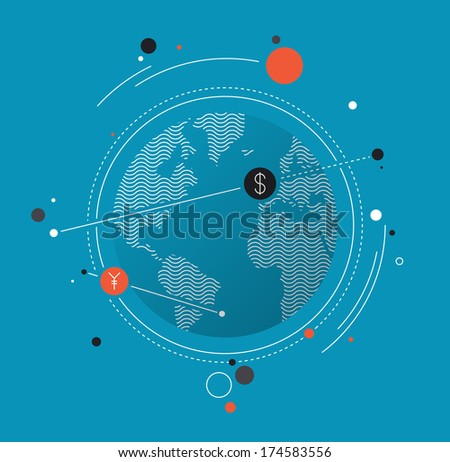 Flat design style modern vector illustration concept of world currency exchange, converting money with yen and dollar symbols, global trading on stock market. Isolated on white background - stock vector