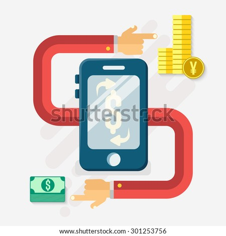 Flat design style modern vector illustration concept of world currency exchange, converting money with yen,dollar symbols. Global trading on stock market with mobile phone. - stock vector
