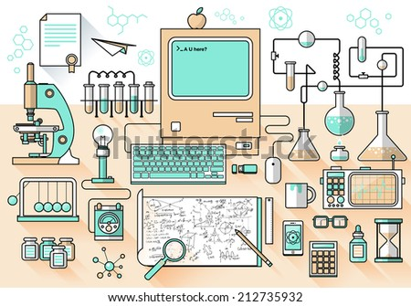 Flat design style modern vector illustration icons set of science and technology development. Laboratory workspace and workplace concept. Chemistry, physics, biology.  Isolated on stylish background - stock vector