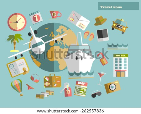Flat design style modern vector illustration icons set of traveling on ship. Vector illustration. - stock vector