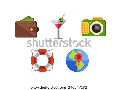 Flat design style modern vector illustration icons set of traveling, summer vacation, tourism and journey objects and passenger luggage - stock vector