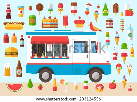 Flat design style modern vector illustration icons set of wagon full of tasty summer food,  meals, drinks and fruits. Isolated on stylish color background  - stock vector