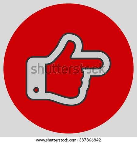 Flat design style. The index finger pointing right. Forefinger pointing to right. Hand gesture. Style is flat symbol. Silver color.  Red circle  background. - stock vector