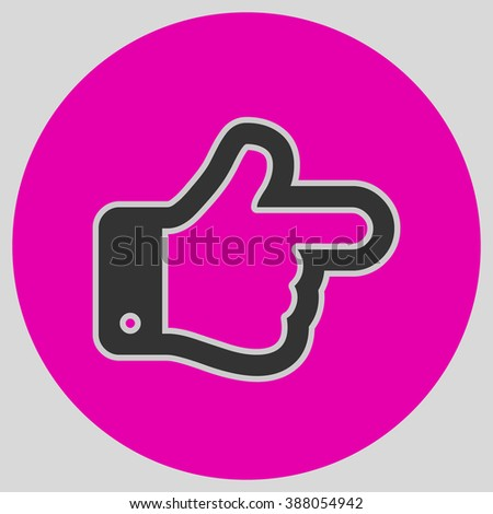 Flat design style. The index finger pointing right. Forefinger pointing to right. Hand gesture. Style is flat symbol. Black color.  Magenta circle  background. - stock vector