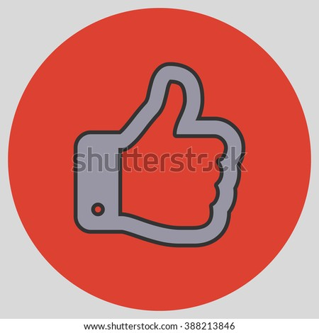 Flat design style. Thumb Up vector icon. Hand gesture. Vector illustration with pantone colors of the year 2016 Lilac Grey and Fiesta.