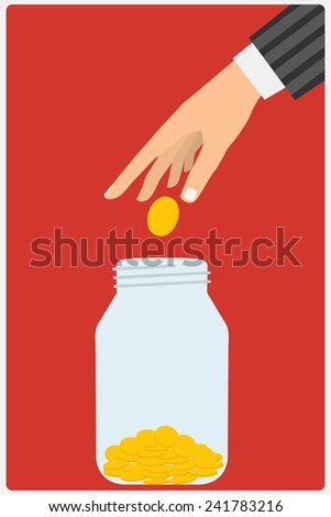 Flat design style vector illustration. Businessman's hand throwing a glass jar gold coin. Financial concept. Isolated on red background - stock vector
