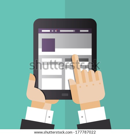 Flat design style vector illustration concept of businessman hands holding modern digital tablet and pointing on social media website on a screen. Isolated on stylish color background