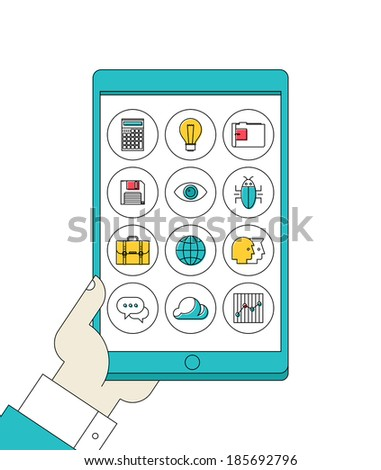 Flat design style vector illustration concept of hand holding modern digital tablet pc with thin line apps icons set on a screen of lifestyle, social media and working applications.  - stock vector