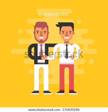 Flat Design Style Vector Illustration Concept of Successful Partnership. Business People Cooperation Agreement, Business Deal and Handshake of Two Businessman Isolated - stock vector